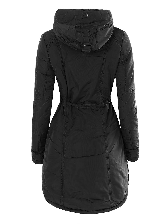 Damen Jacke Mantel Gefüttert Blogger Trenchcoat Parka Kunstfell Kapuze  N552