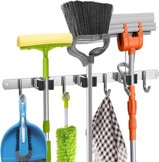 Wall Mounted Mop Organizer Holder Brush Broom Hanger Storage Rack Hanging Hook