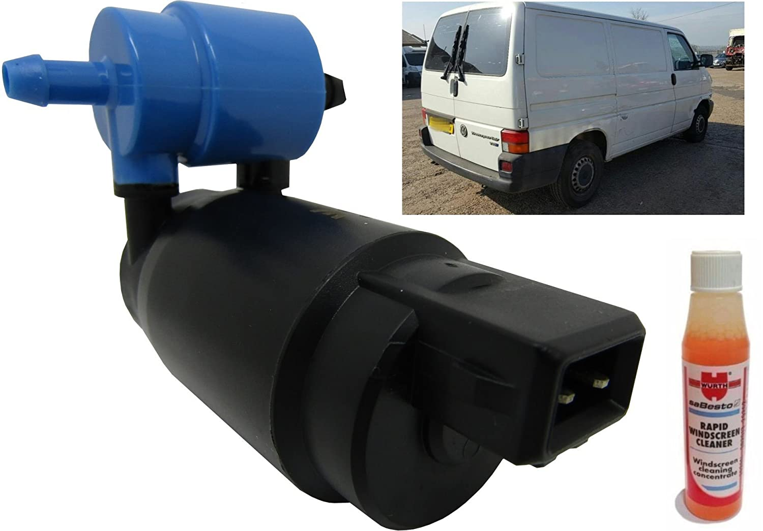 Rear Windscreen Washer Pump Transporter T4 Caravelle Rear wiper Screen Wash XtremeAuto/® Front