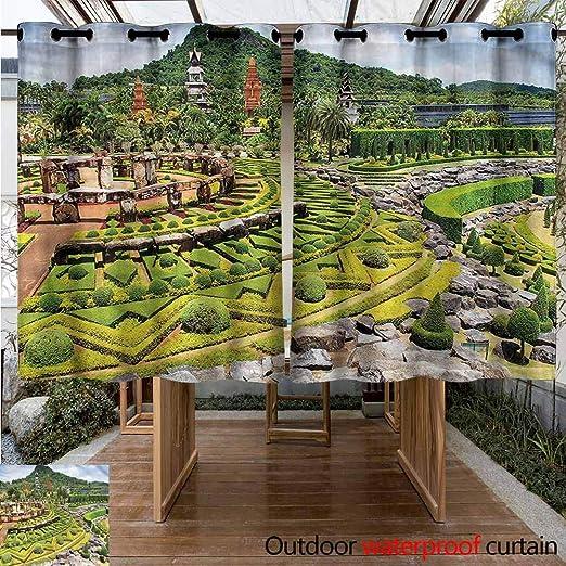 Sunnyhome - Cortinas para recámara, jardín, Parque, Paisaje japonés para Porche, Playa y Patio: Amazon.es: Jardín