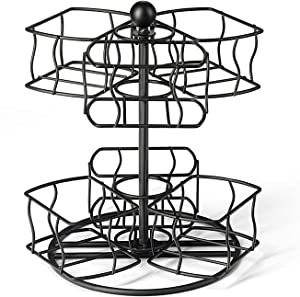 NHZ Tea Bag Storage and Organizer Spinning Carousel, Black Powder Coated Stainless Steel Holder Rack for Tea and Coffee Box. Organize 60 Tea Bags - 6 Compartments with 10 Bags in Each. (Black)