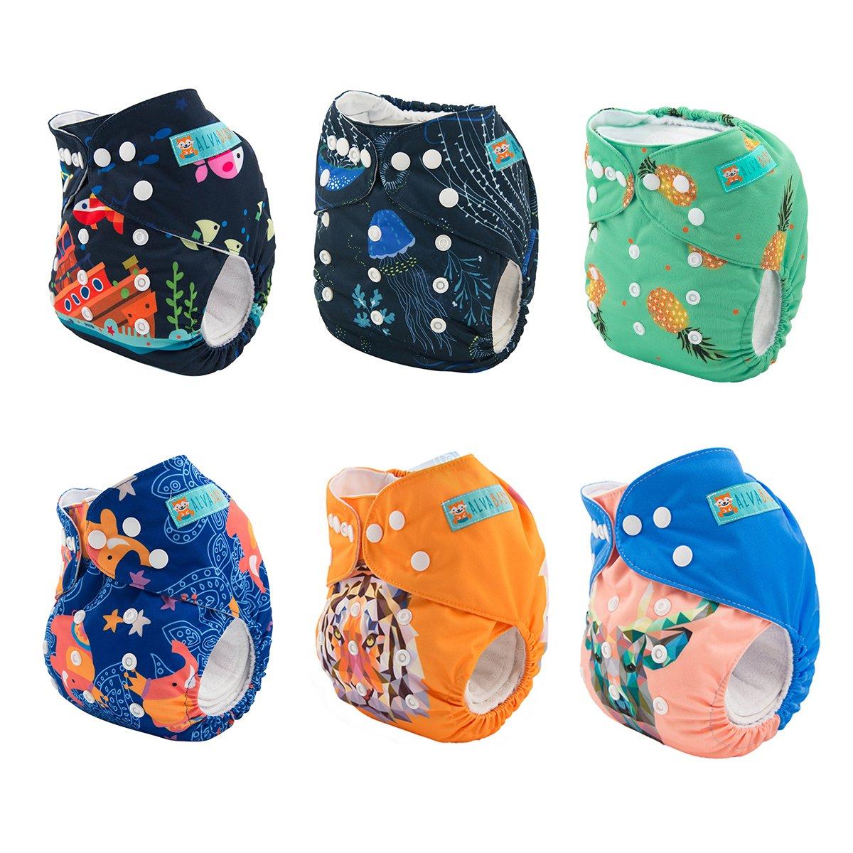 Alva b/éb/é lot de 6 couches lavables de poche ajustables avec 2 inserts chaque la couleur de fille 6DM09-FR