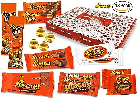 Reeses - Sweet Box - XXL Cesta de regalo | 18 dulces estadounidenses diferentes | Tazas de mantequilla ...