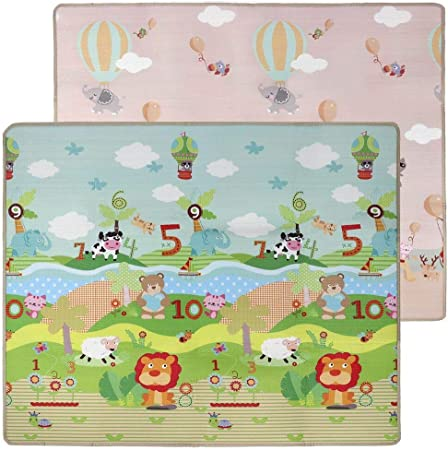 Moonvvin Baby Crawling Mat Extra Large 200x180cm Thicken Double-sided Early Education Play Carpet Safe Protective Floor Game Pad Home Decorative Rugs for Kids Toddlers