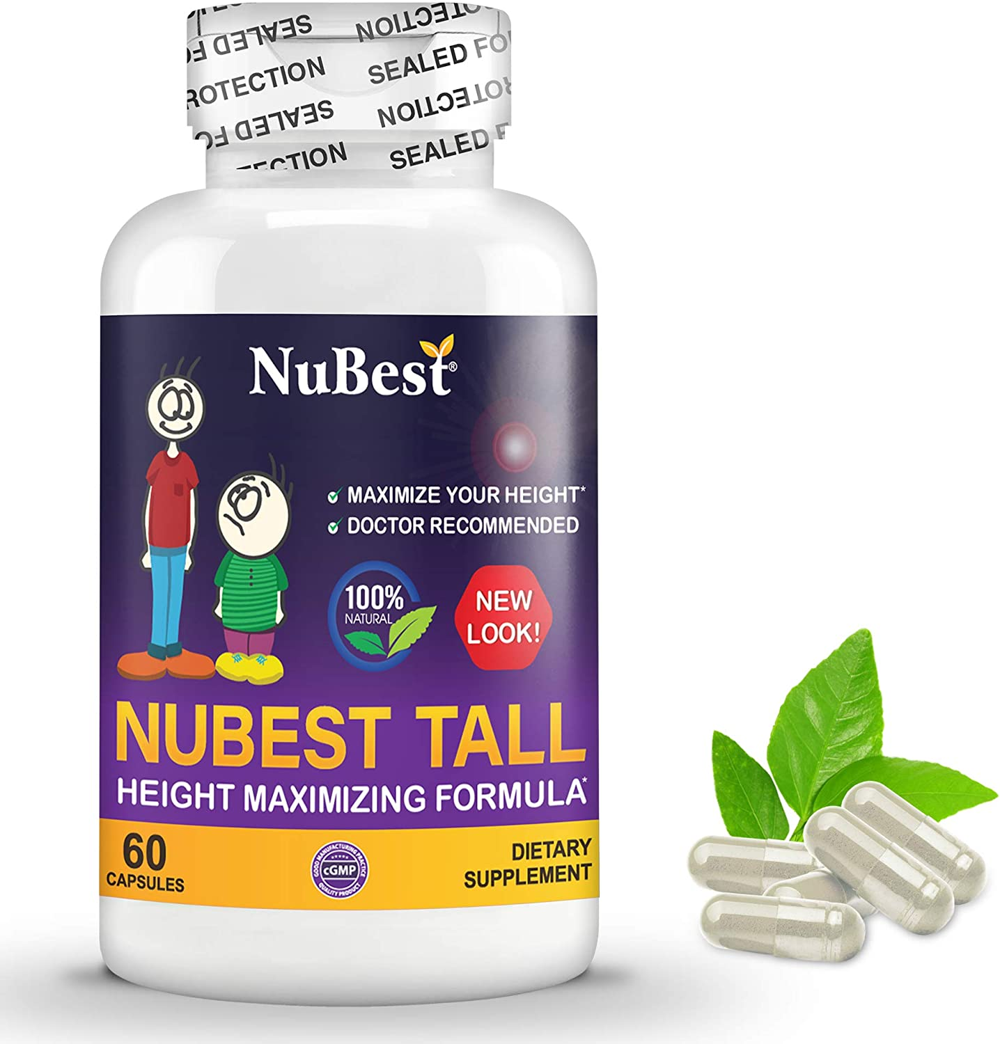 NuBest Tall 60 Capsules - Maximum Natural Height Growth Formula - Herbal Peak Height Pills - Grow Taller Supplement - Doctor Recommended - for People Who Don't Drink Milk Daily
