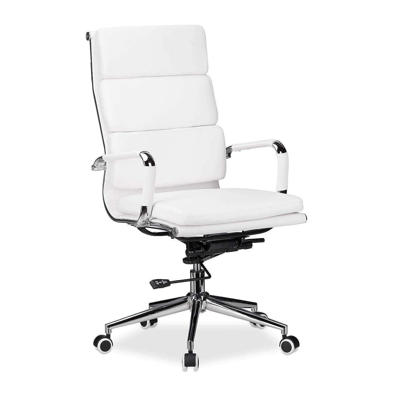 Relaxdays 10022896 Sedia da Ufficio Altezza Regolabile Girevole Ergonomica Comoda Carico max 120 kg HxLxP: 114 x 65 x 65 cm Bianco