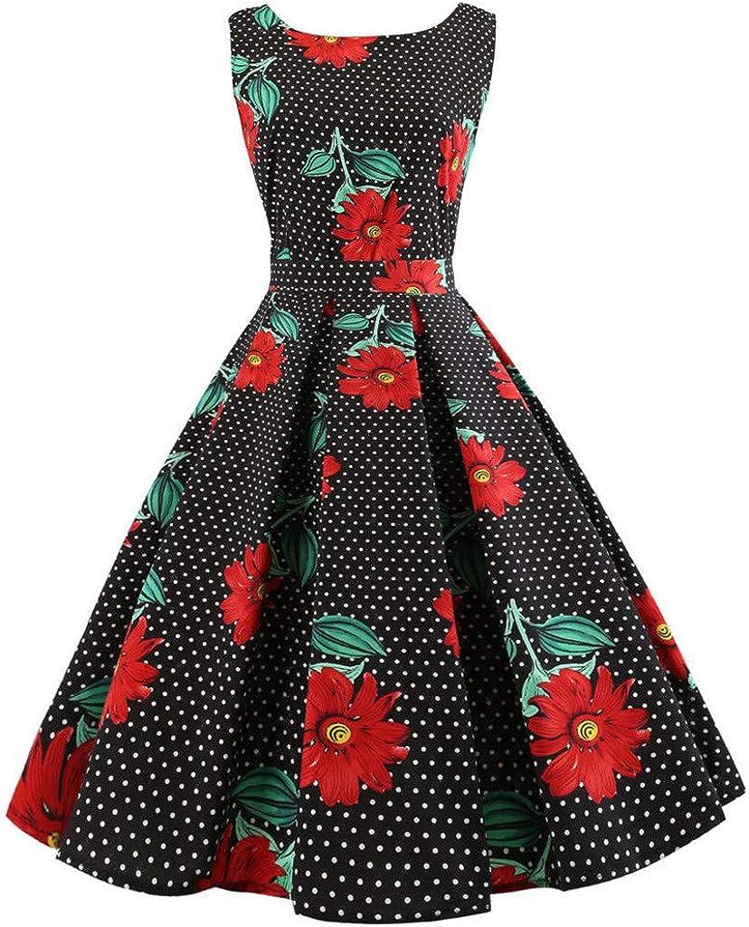 KESEELY Boatneck Sleeveless Vintage Tea Dress Belt Women Sleeveless Floral Print Rockabilly Evening Party Dress Swing Dress