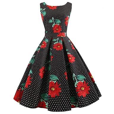 dacca9a27 Women's Vintage 50s Hepburn Dresses 1950s Retro Rockabilly Sleeveless  Floral Polka Dot Printed A-Line