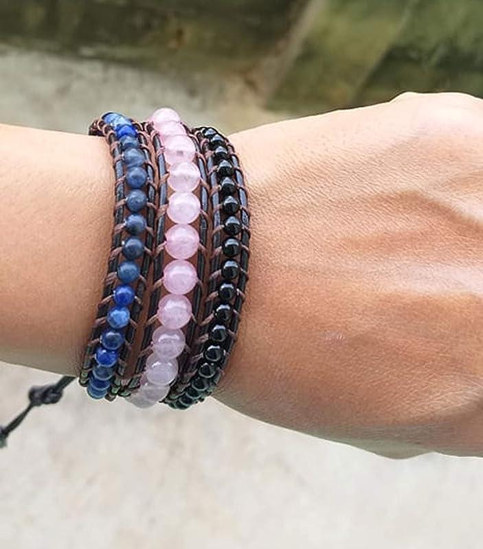hematite black chain trim crystal Black triple wrap bracelet with stone beaded wrap bracelet on soft polyester cord