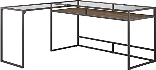 Bush Furniture Anthropology 60W Glass Top L Shaped Desk