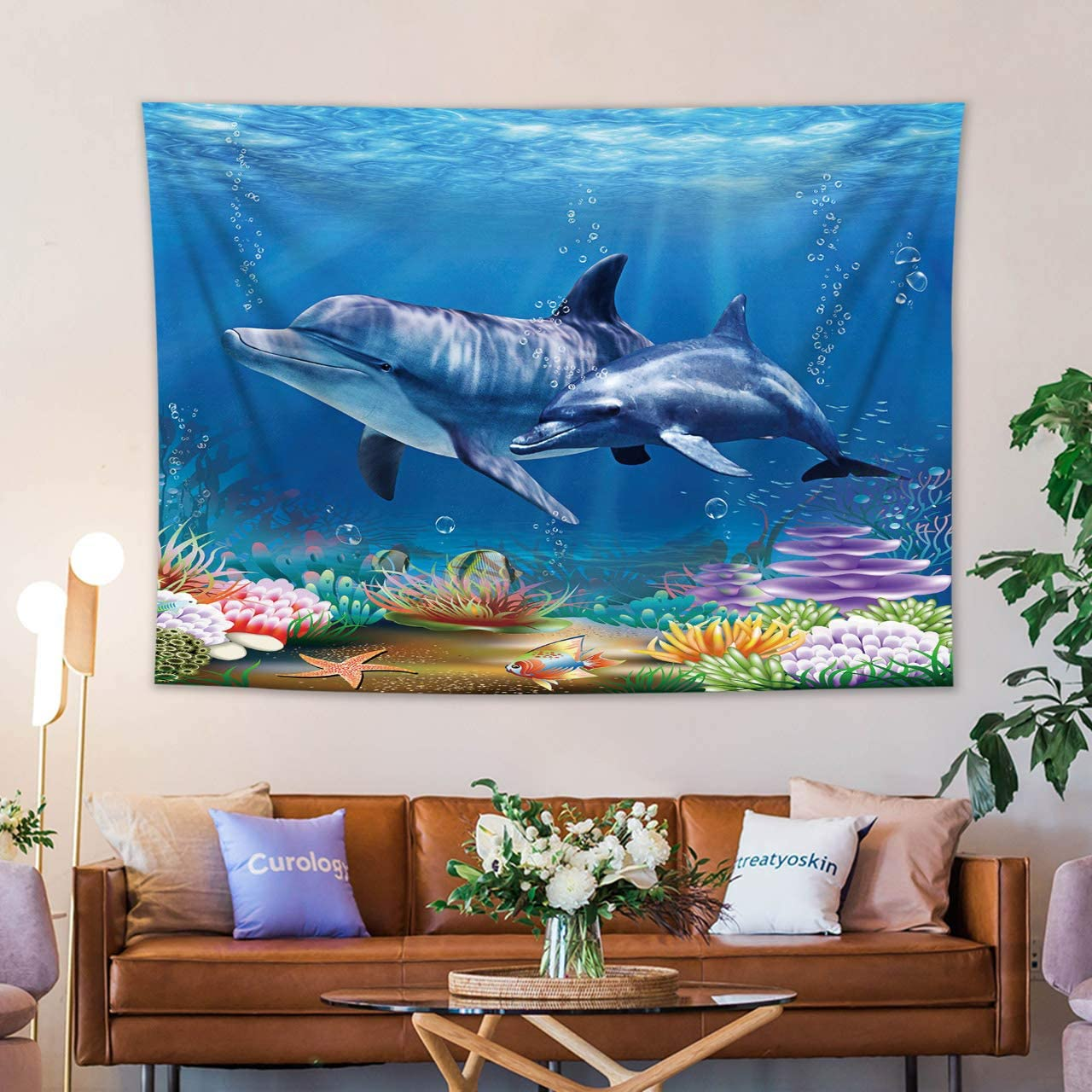 HVEST Dolphin Tapestry Blue Ocean Coral Reef Tapestry Wall Hanging Underwater World Dolphin Tapestry for Living Room Bedroom Kids Room Dorm Wall Hanging Blanket Home Decoration, 92.5×70.9 inches