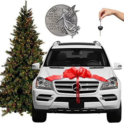 red car bow giant bows for new or used cars christmas or birthday gifts - Jeep Christmas Decorations