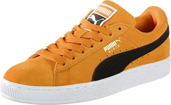 Puma Suede Classic Sneaker Damen Herren Unisex Wildleder Orange mit schwarzem Streifen (Orange Pop)