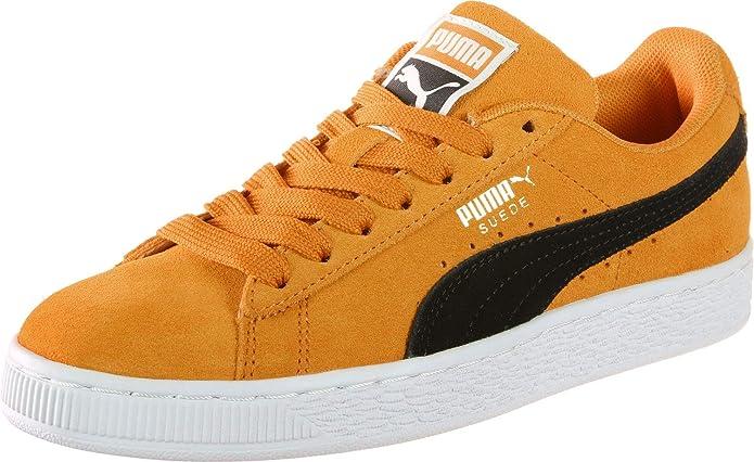 Puma Suede Classic Sneaker Damen Herren Unisex Wildleder Orange mit schwarzem Streifen (Orange Pop)