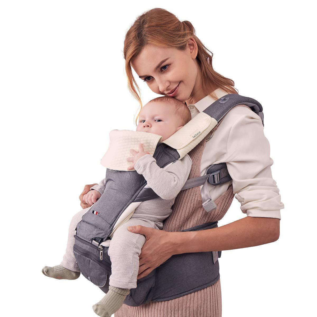 100/% Baumwolle Grau Bebamour Babytrage Neugeborenes bis Kleinkind 6 in 1 Babytrage f/ür 0-36 Monate faltbarer Baby-H/üftsitz 3 St/ück Baby Drool L/ätzchen