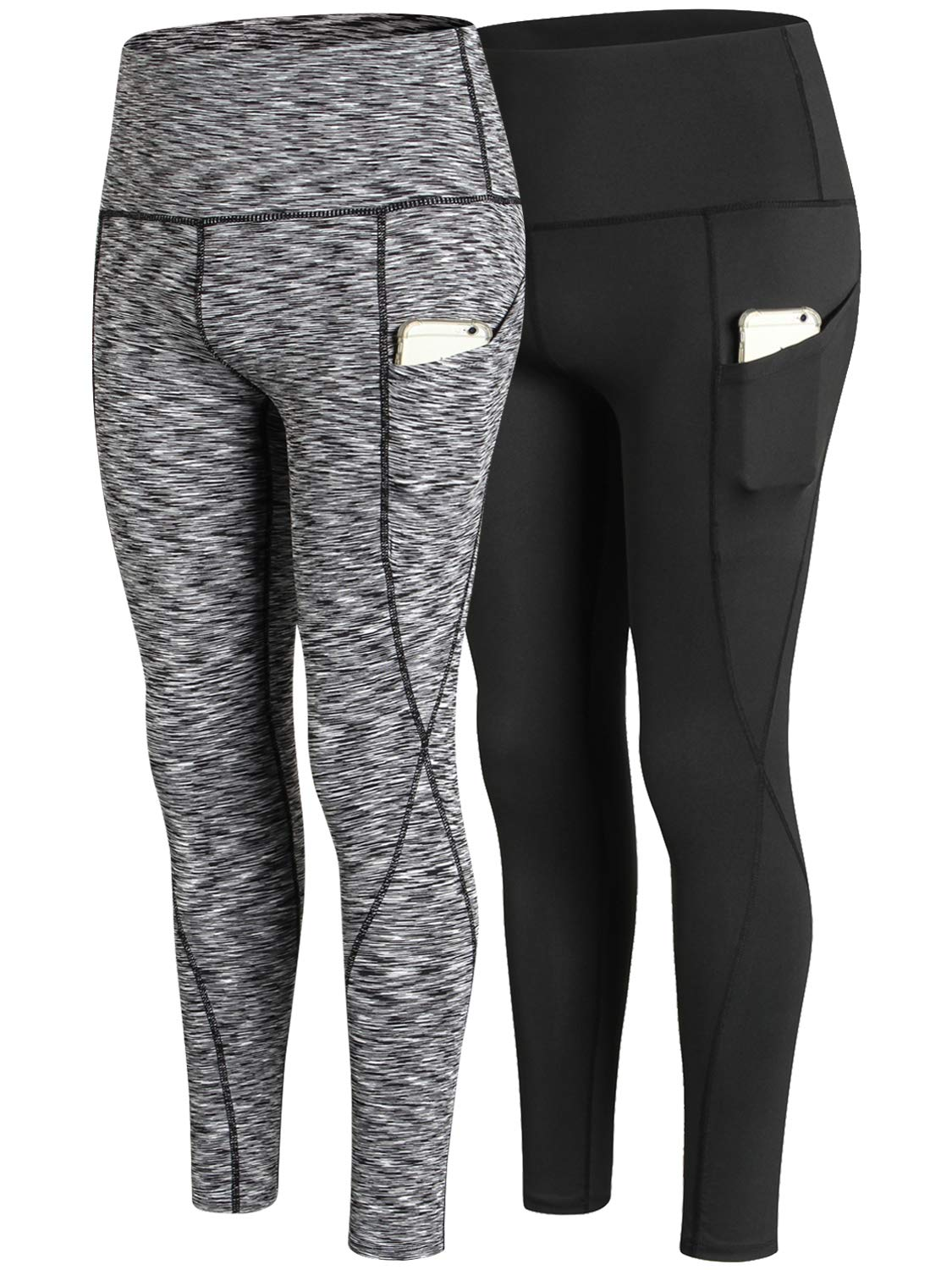 2 PackHigh Rise Pants Black Heather black Lavento Women's Compression Shorts Pocket Workout Running Tights