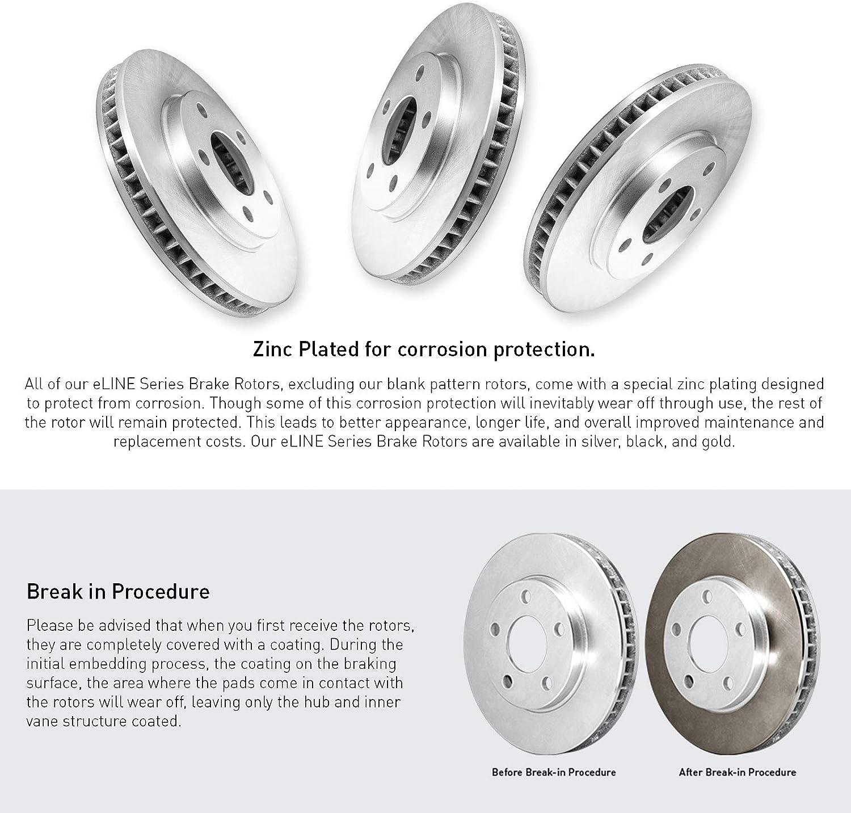 For 2016-2018 Mini Cooper Clubman Front eLine Plain Brake Rotors+Ceramic Pads