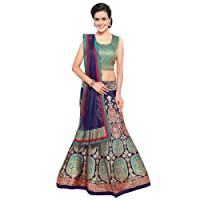 Styles Closet Women's Silk Semi-stitched Lehenga Choli (BND-7101_Blue_Free Size)