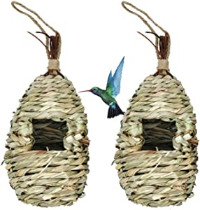 Hummingbird Bird House, Hanging Birdhouse Bird Nest Fiber Hand-Woven Roosting Pocket Sparrow House for Finch & Canary(2 Pcs)