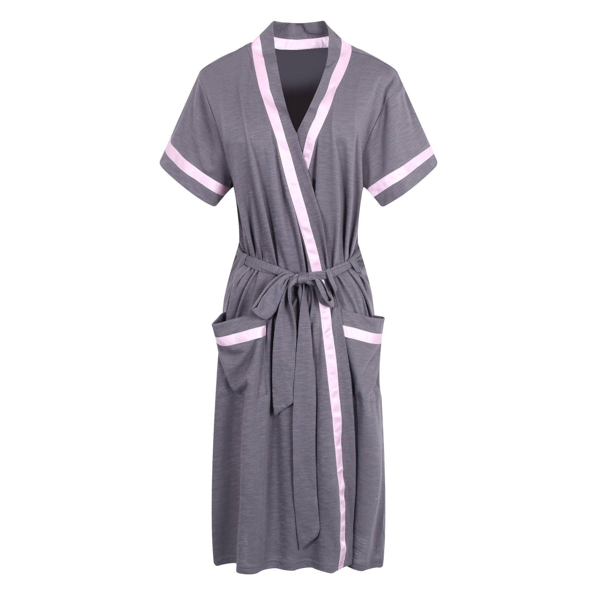 Richie House Women's Short Sleeve Cotton Bathrobe Robe RHW2753-B-XL