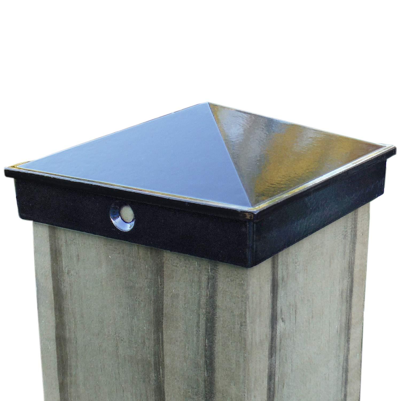 4x4 Fence Post Cap (3 1/2'') 4 Pack Black Powder Coated Aluminum - Mailbox, Lamp Post, Deck, Dock, Piling Caps by WeatherPRO Post Caps