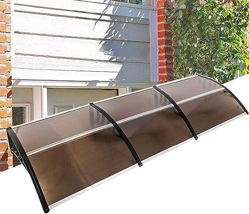 samanoya 120″x40″ Door Window Outdoor Awning Modern Patio Cover UV Rain Protection One-Piece Polycarbonate Hollow Sheets Black Holder