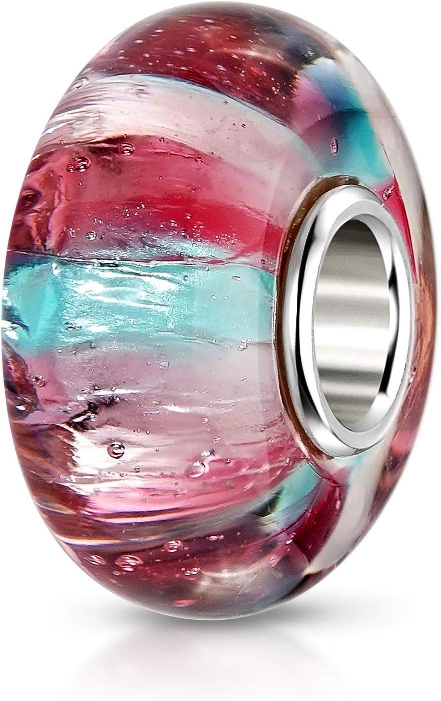MATERIA Murano cristal Beads Perla Turquesa Rojo Rosa–Purpurina Charms joyas con funda de 925plata para pulsera # 1047
