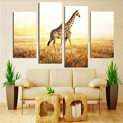 Amazon.com: 4 Piece Cute Giraffe Animal Canvas Print Oil Painting ...