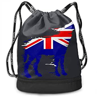 Amazon.com | Australian Flag Wolf Drawstring Bag