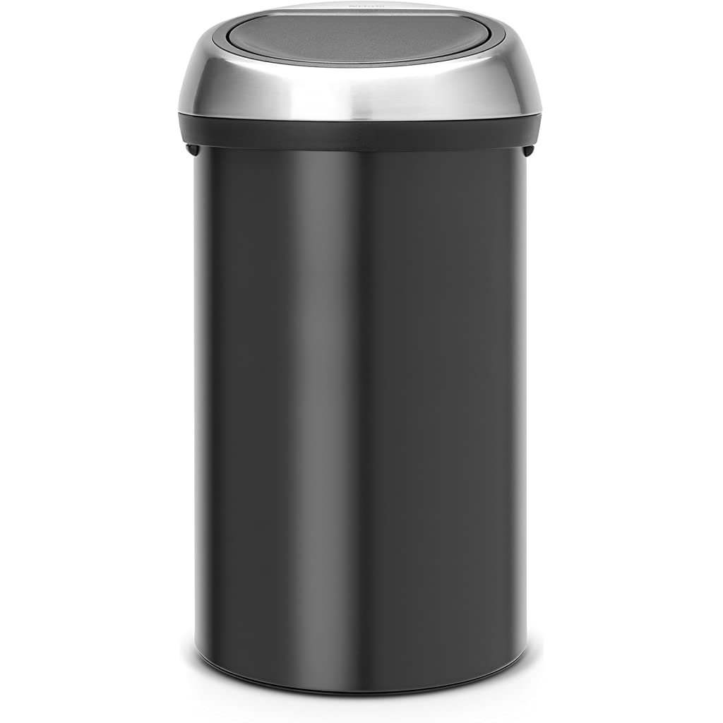 Brabantia 60 Litre Touch Bin - Matt Black with Brilliant Steel Lid