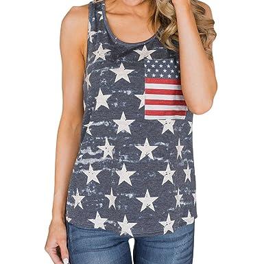 148746597d92bb Women T-Shirt Hosamtel Summer USA Flag Tank Tops Vest Camisole Shirt 4th of  July