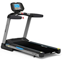 PowerMax Fitness Unisex Adult TDA-550 (4.0 Hp), 8inch Tft Screen, 400m Track Ui, Motorized Treadmill For Cardio Workout - Black/Grey, General-Foldable