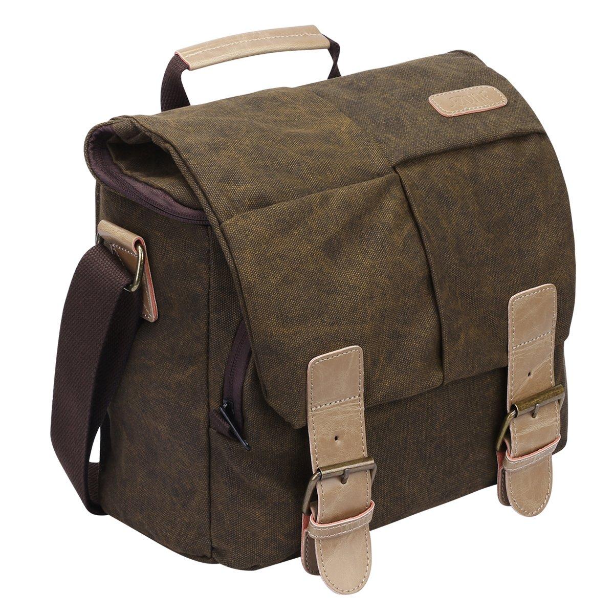S ZONE Vintage Waterproof Canvas Leather Trim DSLR SLR Shockproof Camera Shoulder Messenger Bag