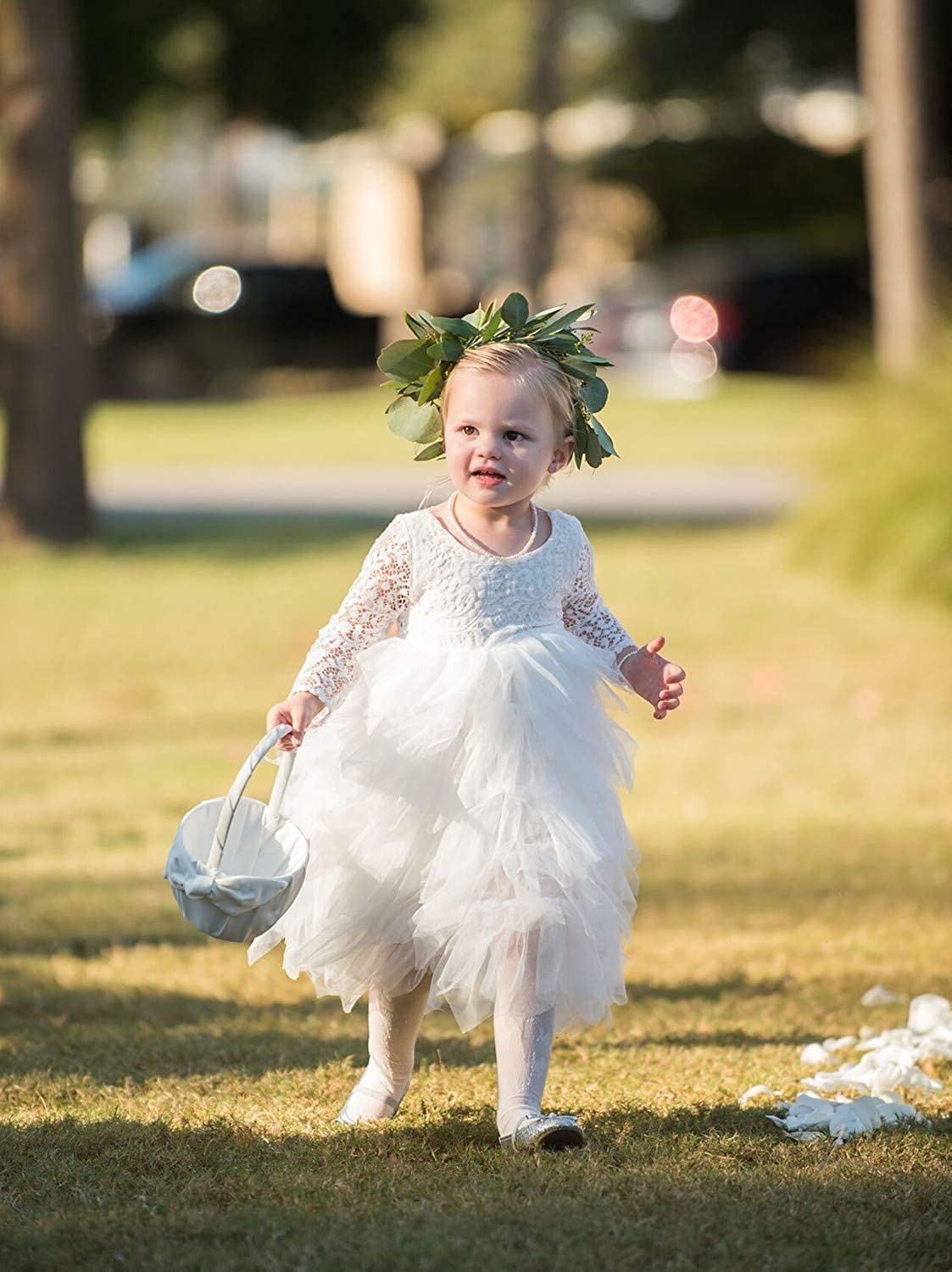 83b9e0ae5af Amazon.com  2Bunnies Girl Peony Lace Back A-Line Tiered Tutu Tulle Maxi Flower  Girl Dress  Clothing