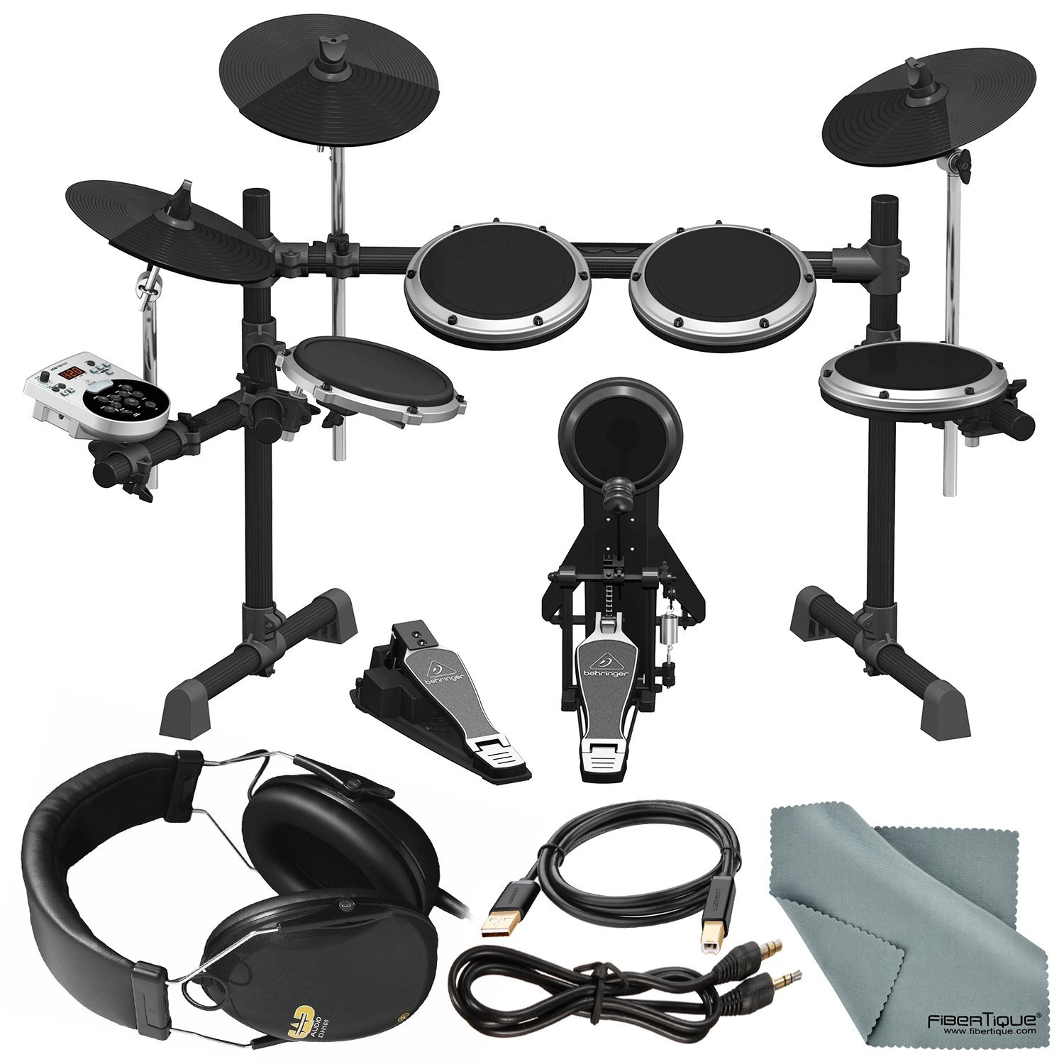 Behringer XD8USB 8-Piece Electronic Drumset with CAD DH100 Drummer Isolation Headphones, Assorted Cables, and Deluxe Drumset Bundle Behringer - Photo Savings