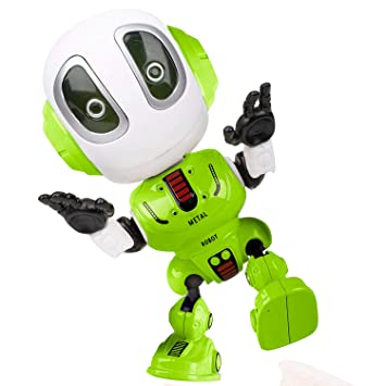 Alagoo Kids Talking Robot Toys, Repeats Your Voice Mini Robots for Boys /  Girls with Posable Body, Colorful Flashing Lights and Cool Sounds Robot