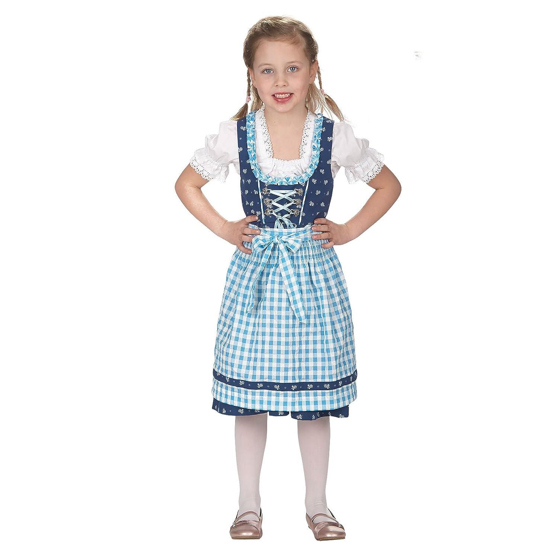 Dirndl Kinder Kostüm Kleid Bluse Schürze für Mädchen blau weiß
