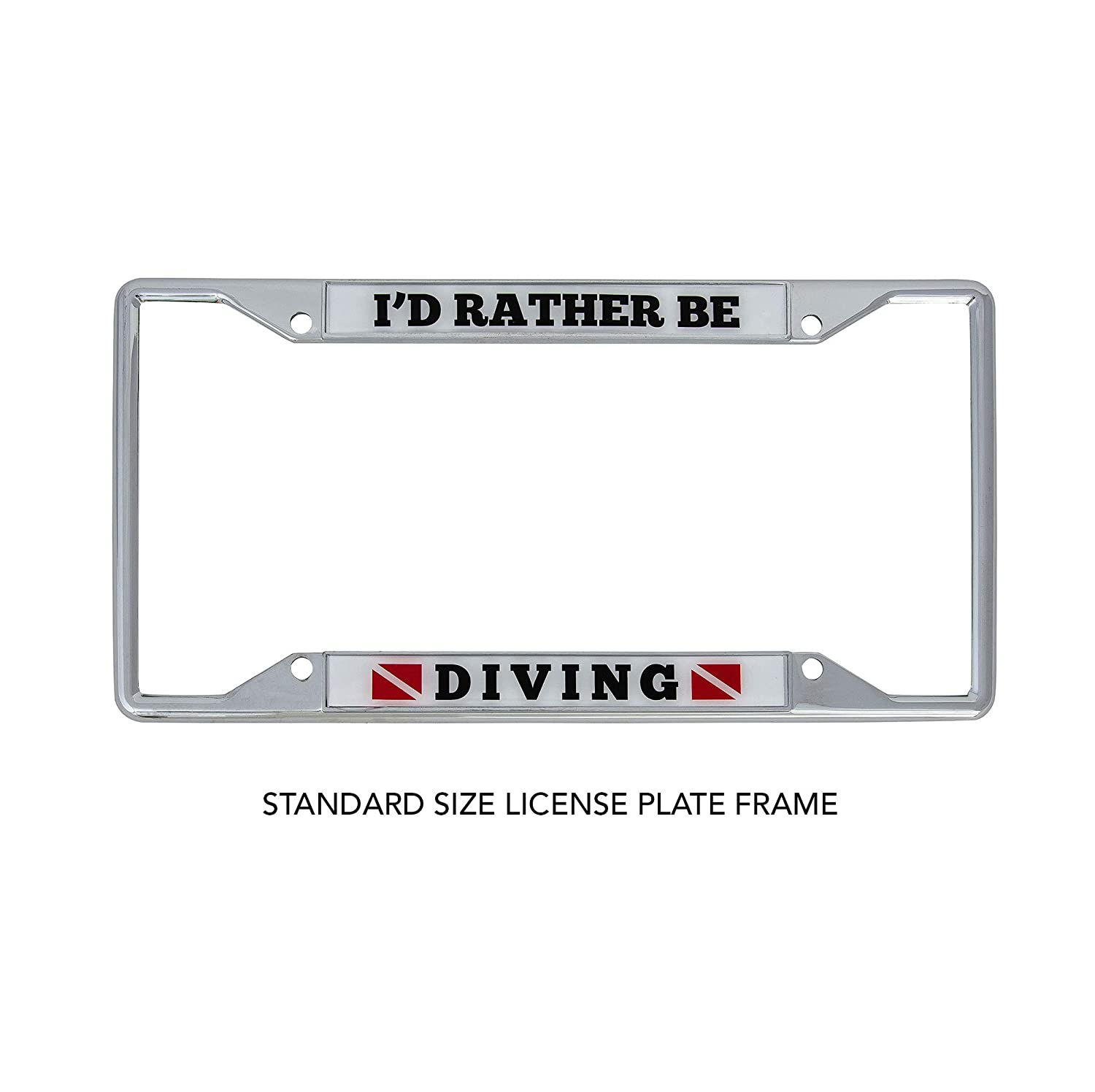 Desert Cactus Id Rather Be Diving Metal Auto License Plate Frame Car Tag Holder
