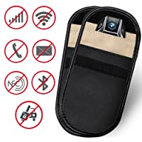 SHISHUO Car Key Signal Blocker - 2 Pack Faraday Bag WiFi/GSM/LTE/NFC/RFID/Keyless Entry Fob Signal Blocking Case Credit Card Protector Pouch, Antitheft Cell Phone Privacy Protection