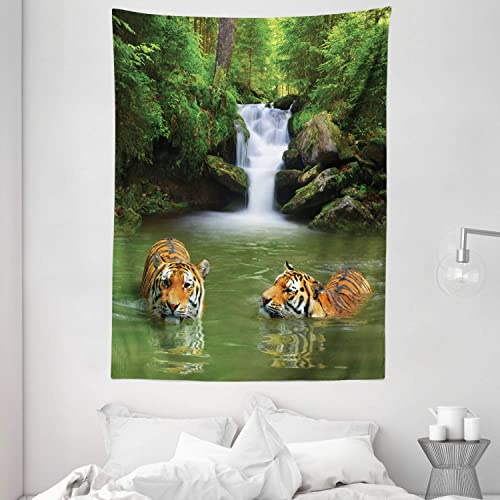 Ambesonne Safari Tapestry, Siberian Tigers in Water Waterfall Pool Woodland Swimming Natural, Wall Hanging for Bedroom Living Room Dorm, 60 X 80 , Green White