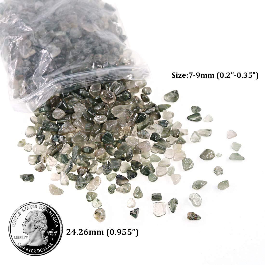 About 1lb //Bag Hilitchi Quartz Stones Tumbled Chips Stone Crushed Crystal Natural Rocks Healing Home Indoor Decorative Gravel Feng Shui Healing Stones 450g Green Strawberry Quartz