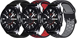 Surace Compatible with Galaxy Watch 3 Band 45mm, Soft Silicone Sport Band with Quick-Release Pin Replacement for Galaxy Watch 46mm bands, 3 Packs (Black/Black, Black/Gray, Black/Red)