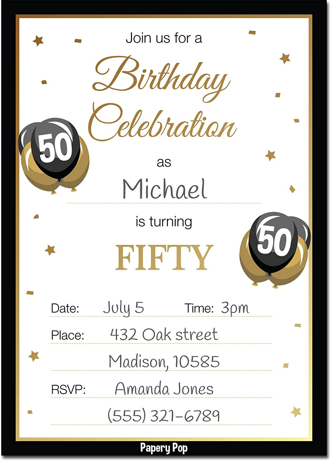 Amazon 50th Birthday Invitations With Envelopes 30 Count