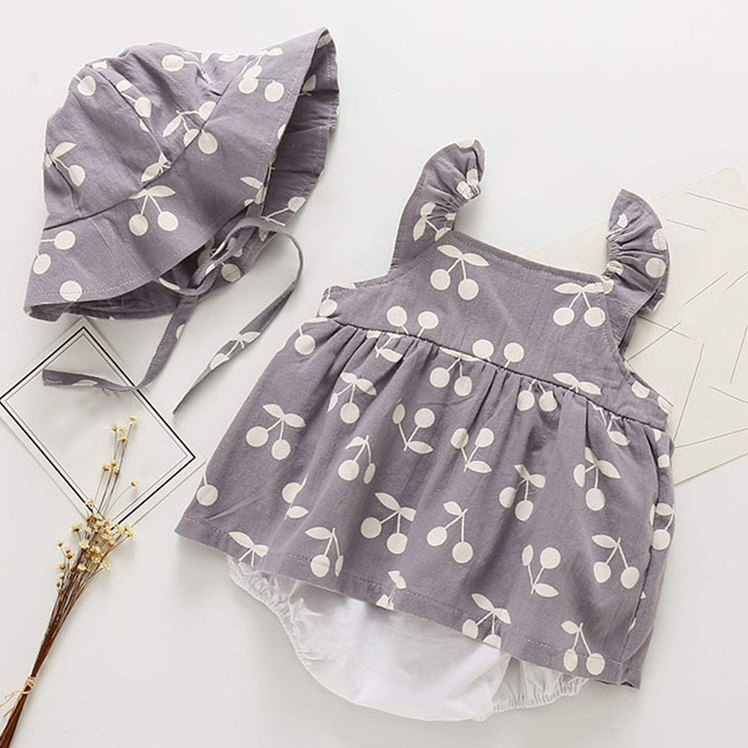 2019 Summer Baby Rompers New Summer Clothes Fashion Cute Cherry Prints Kids Clothing Rompers Dress with Hat