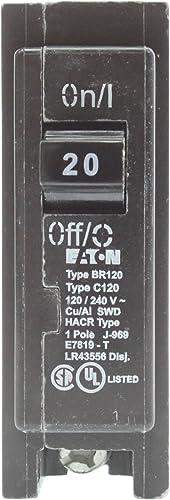 Eaton Cutler-Hammer BR120 Interchangeable Circuit Breaker, 20A, 10-Pack ,Black