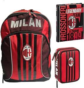 Kit completo mochila escolar Milan extensible 2020 + estuche 3 pisos completo + diario Datato Milan + bolígrafo con purpurina y llavero silbato: Amazon.es: Equipaje