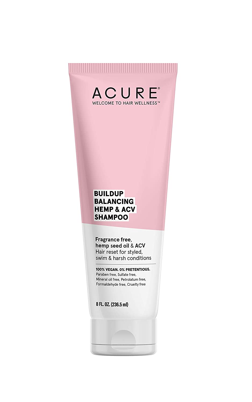ACURE Buildup Balancing Hemp & Apple Cider Vinegar Shampoo | 100% Vegan | Resets & Balances Hair for Styled, Swim & Harsh Conditions | Fragrance Free Formula | 8 Fl Oz