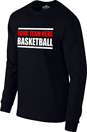 "8dfe851a700 Custom Personalized ""Your Team Here"" Basketball Warm-up Long Sleeve Tee T-"