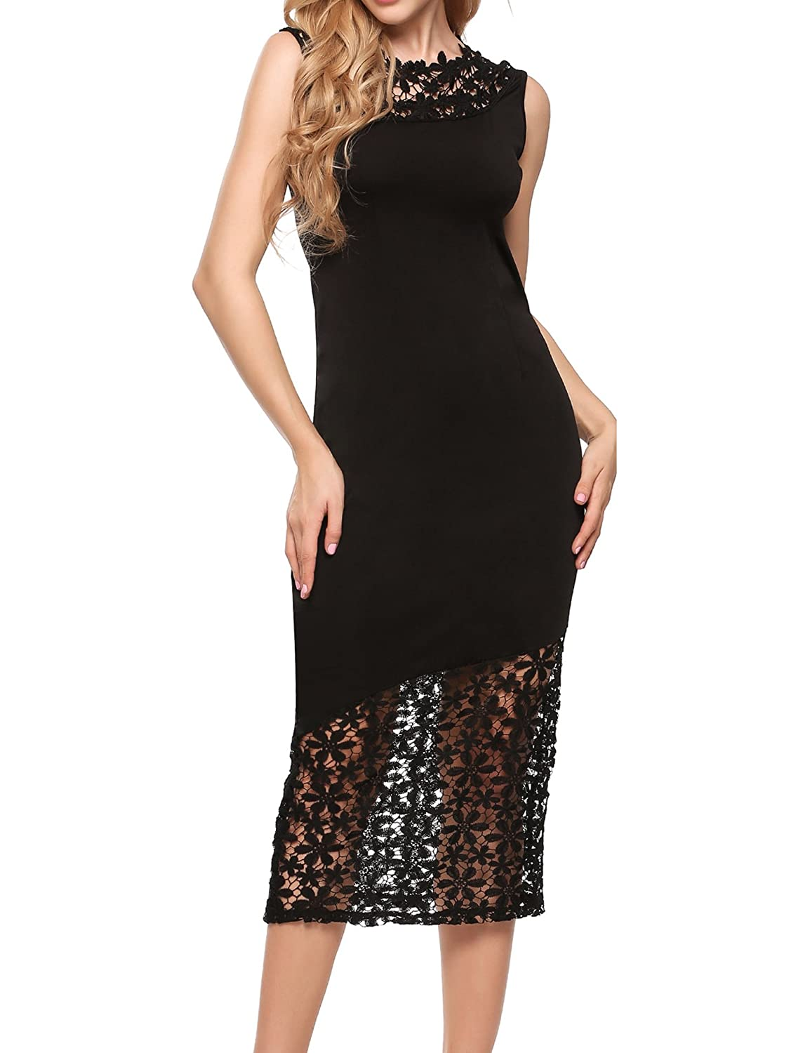 470cad219ea0 ANGVNS Womens Lace Patchwork Floral Sleeveless Cocktail Evening Dress at  Amazon Women's Clothing store: