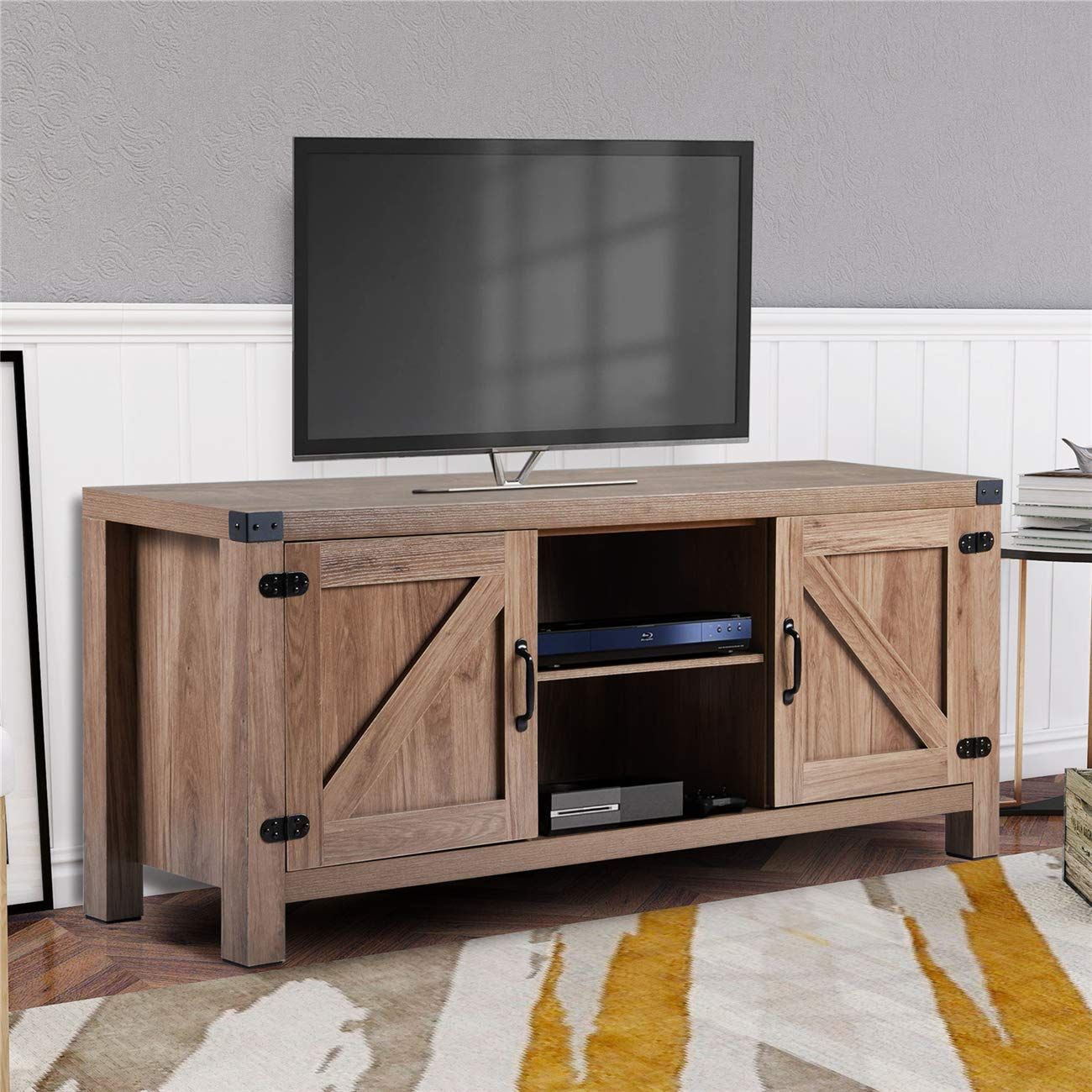 Rustic Style Electric Fireplace TV Stand, Wood Console for Living Room, 58 Inch Wide Entertainment Center for TVs Up to 65 Inch